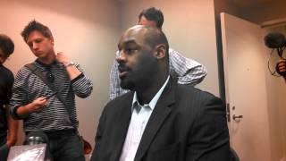Donovan McNabb meets with media.