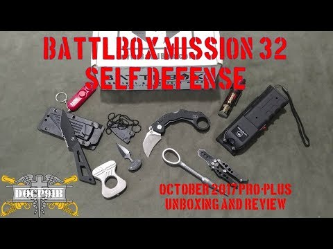 Battlbox (Battle Box) Mission 32 Self Defense - October 2017 - Pro-Plus Unboxing and review