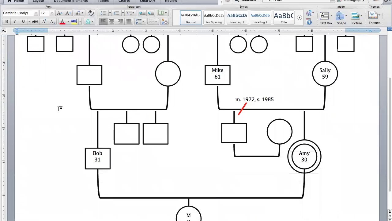 how to create a genogram on word