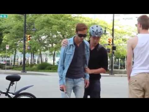 BLIND MAN CROSSING THE STREET  (social experiment)