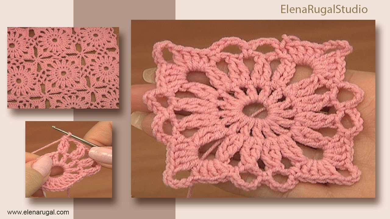 Free Crochet Patterns For Small Motifs : Crochet Small Square Motif Tutorial 4 Part 1 of 2 Joining ...