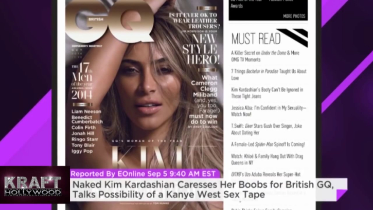 Naked Kim Kardashian Caresses Her Boobs For British Gq Talks Possibility Of A Kanye West Sex Tape Youtube