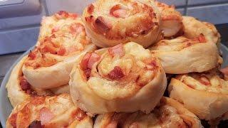 супер быстрые булочки-пиццы  в слоёном тесте!!!