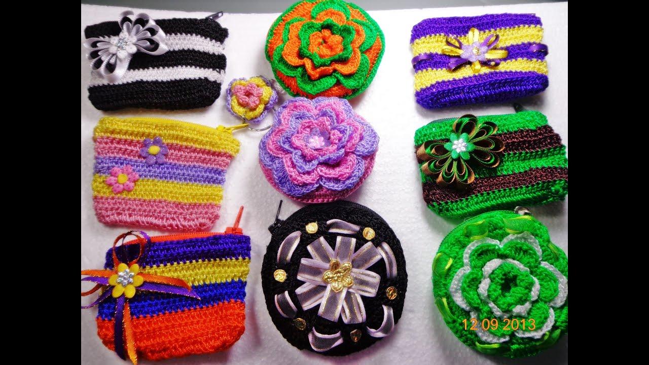 Monederos para negocio tejido a crochet paso a paso youtube - Como hacer flores de ganchillo ...