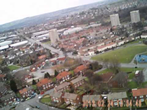 Aerial View of Pudsey Lowtown Leeds. AXN Floater Cloud Fly Rc Plane.