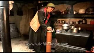 Making butter tea : A Tibetan speciality