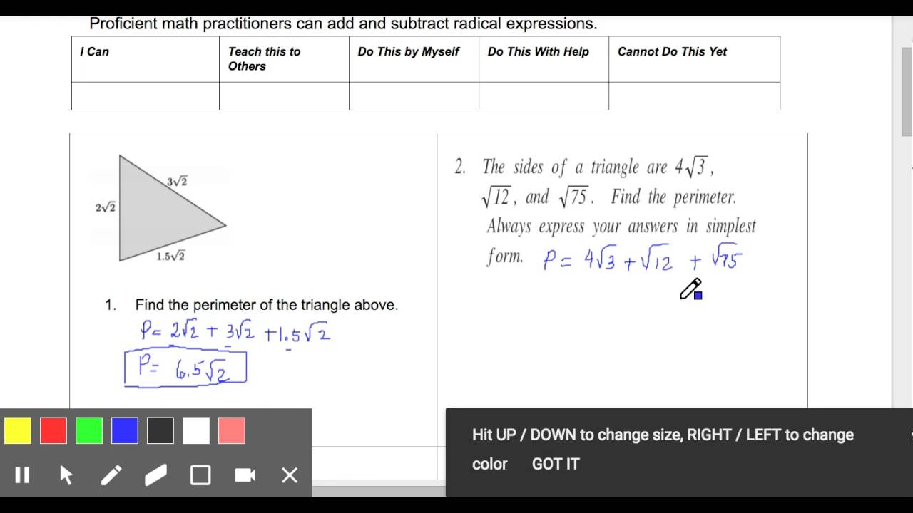 Perimeter Of Triangle  Side Lengths Are Radicals  Edited