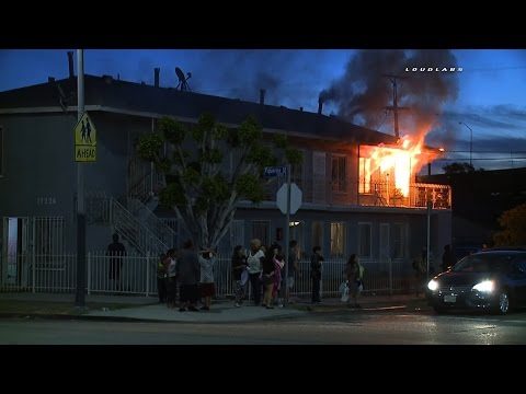 Early Morning Apartment Fire  / South LA  RAW FOOTAGE