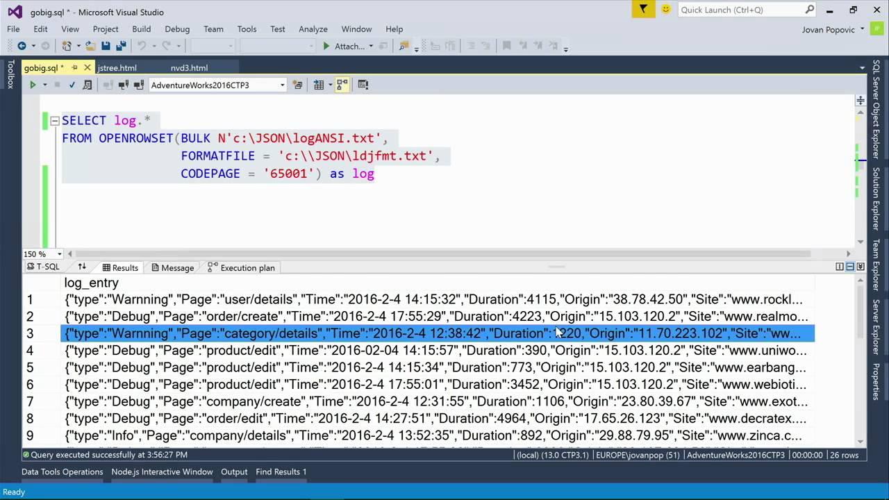 data driven sql server 2016 json as a bridge betwen nosql and relational worlds