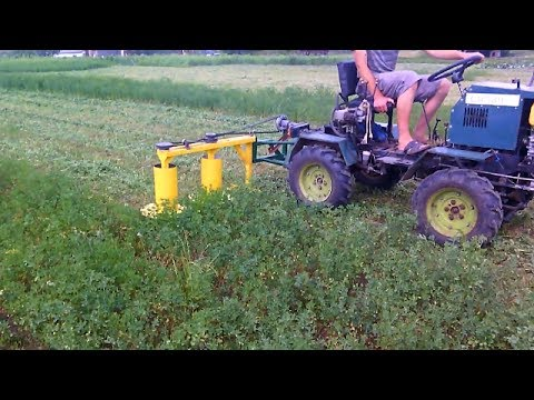 Homemade rotary mower in action