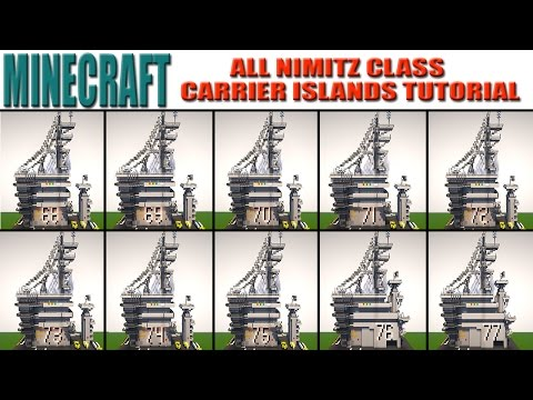 Minecraft Aircraft Carrier Main Islands Tutorial (USS NIMITZ CLASS)
