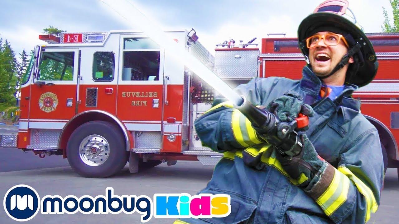 Blippi Visits a Firetruck Station For Kids | Playground for Children | Baby Cartoon | Moonbug Kids