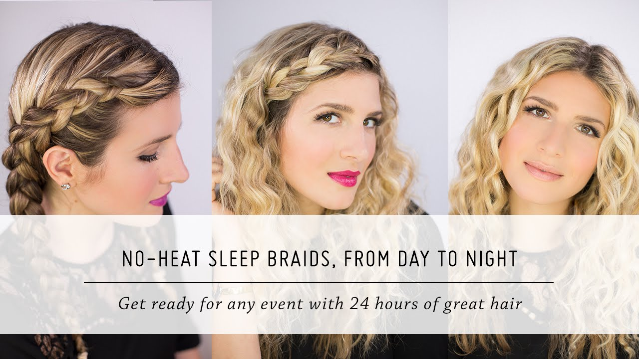 no heat sleep braid waves, from day to night | diy hair and beauty tutorial | mr. kate