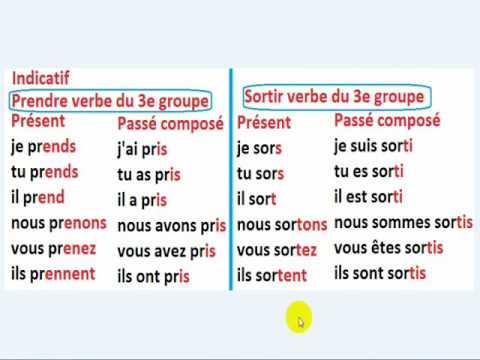 Conj Prendre Sortir 5eme Annee Primaire L6 تعلم الفرنسية