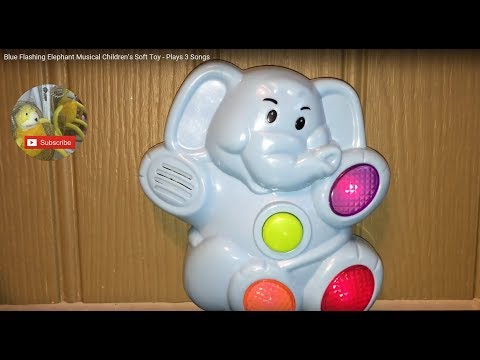 Blue Flashing Elephant Musical Children's Soft Toy - Plays 3 Songs