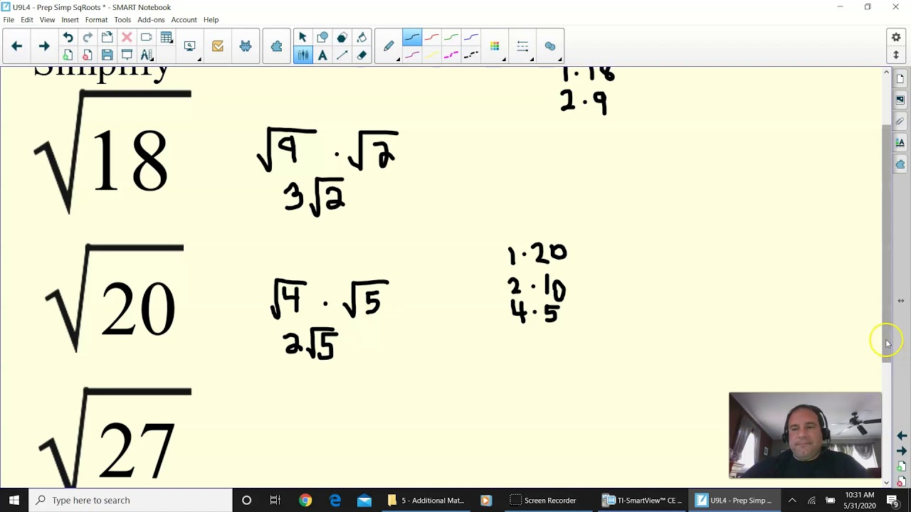 Algebra Simplifying Non Perfect Square Roots Youtube
