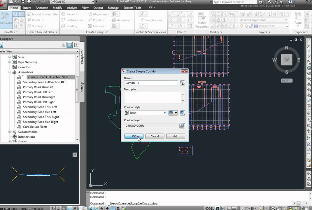 How to create a corridor in AutoCAD Civil 3D 2011