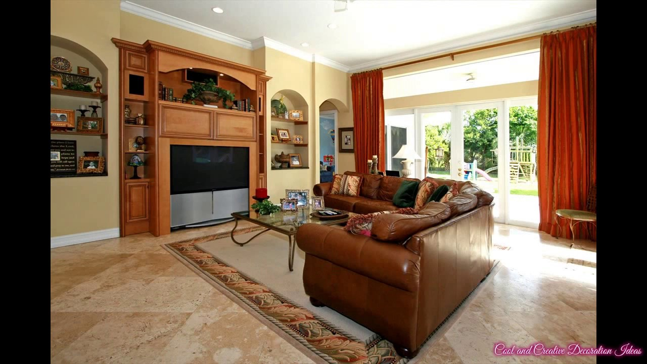 Living Room with Nice Floor Tile Ideas