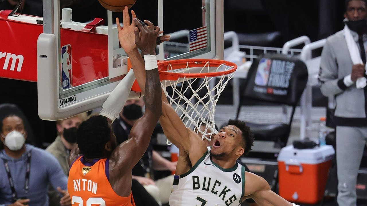 Giannis Antetokounmpo with one of the best blocks in NBA Finals history