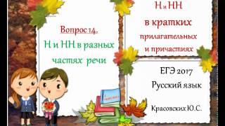 ЕГЭ 2017. Русский язык. Н и НН в КРАТКИХ прилагательных и причастиях (Вопрос 14)