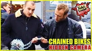 Hidden Camera: Chained Bikes Prank !