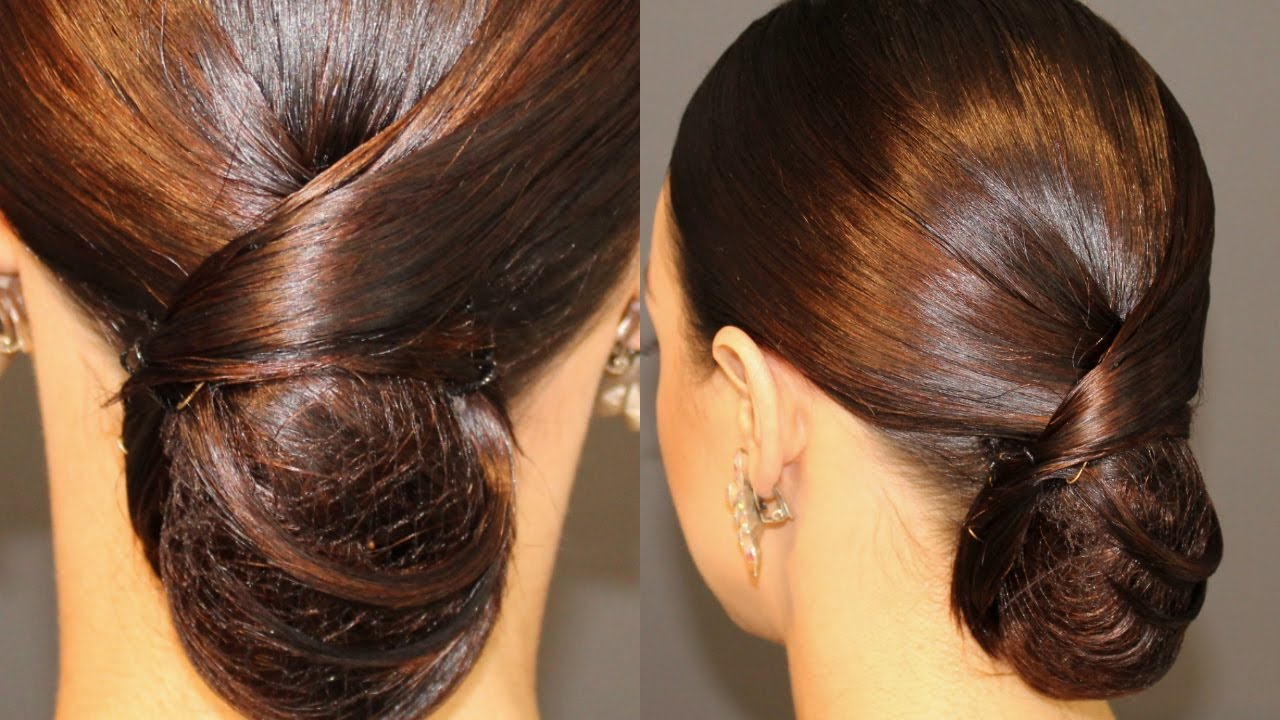 sleek low bun with a swirl hairstyle tutorial - dance comp