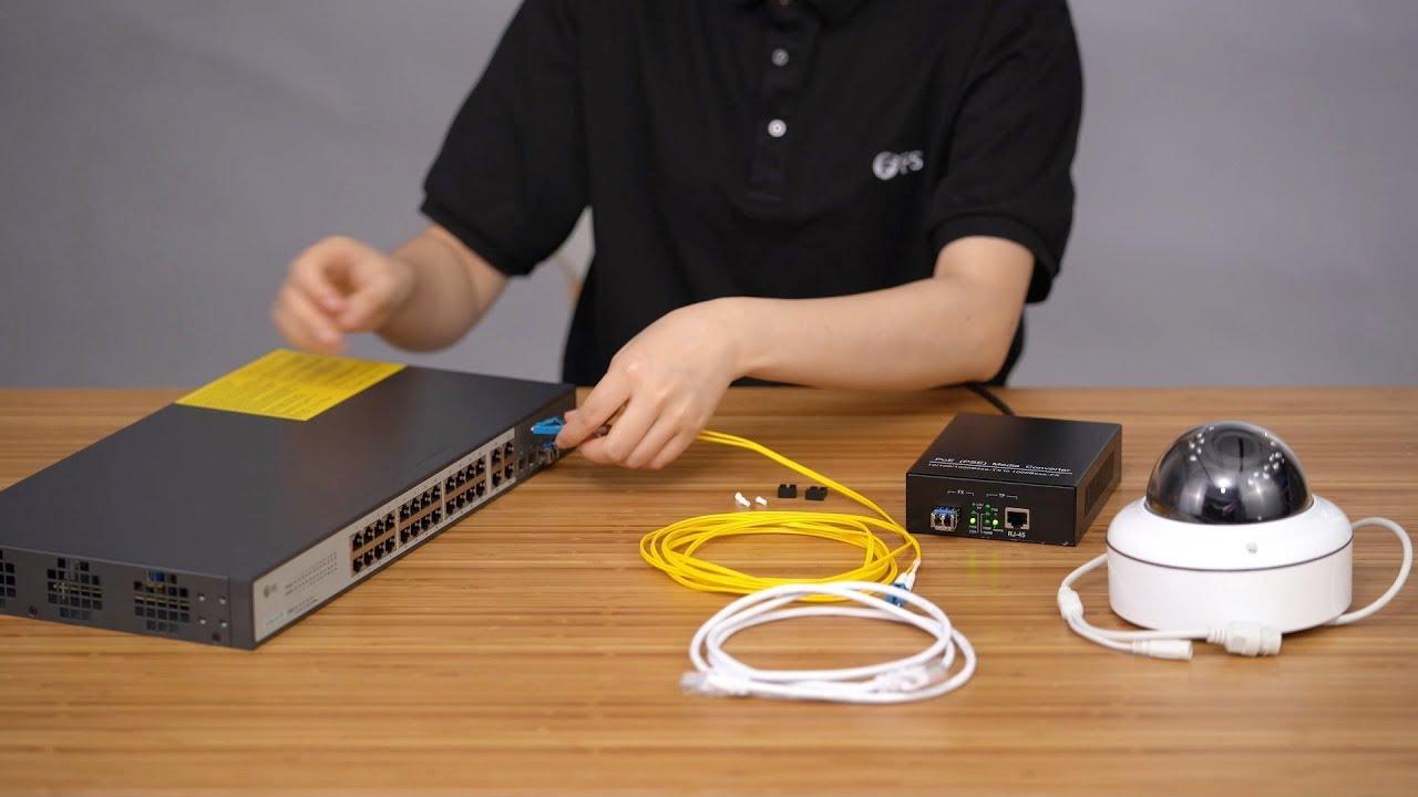 Application Of Poe Gigabit Rj45 To Sfp Media Converter Fscom Network Cable Wiring