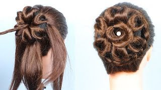 Beautiful Heart Bun hairstyle || wedding hairstyles || messy bun || hairstyles for short hair