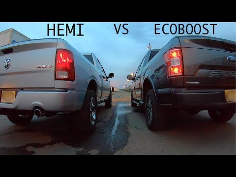 2019 F-150 ECOBOOST VS 2017 DODGE RAM HEMI Race | What's Faster?