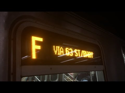 BMT Broadway Line: (F) Exp And (N) (Q) (R) Lcl Train Action @ 57th Street-7th Ave (R68A, R160)