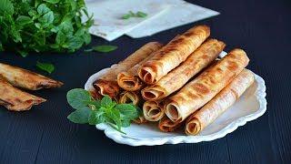 Жареные трубочки из лаваша с сыром