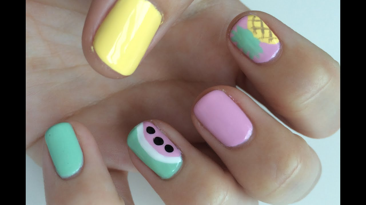 Easy Watermelon & Pineapple Nail Art Tutorial | Heather ...