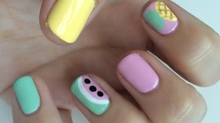 Easy Watermelon & Pineapple Nail Art Tutorial | Heather Pickles