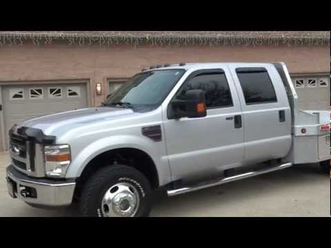 2008 Ford F350 Xlt Crew Cab Diesel 4x4 Aluminum Flat Bed For Sale