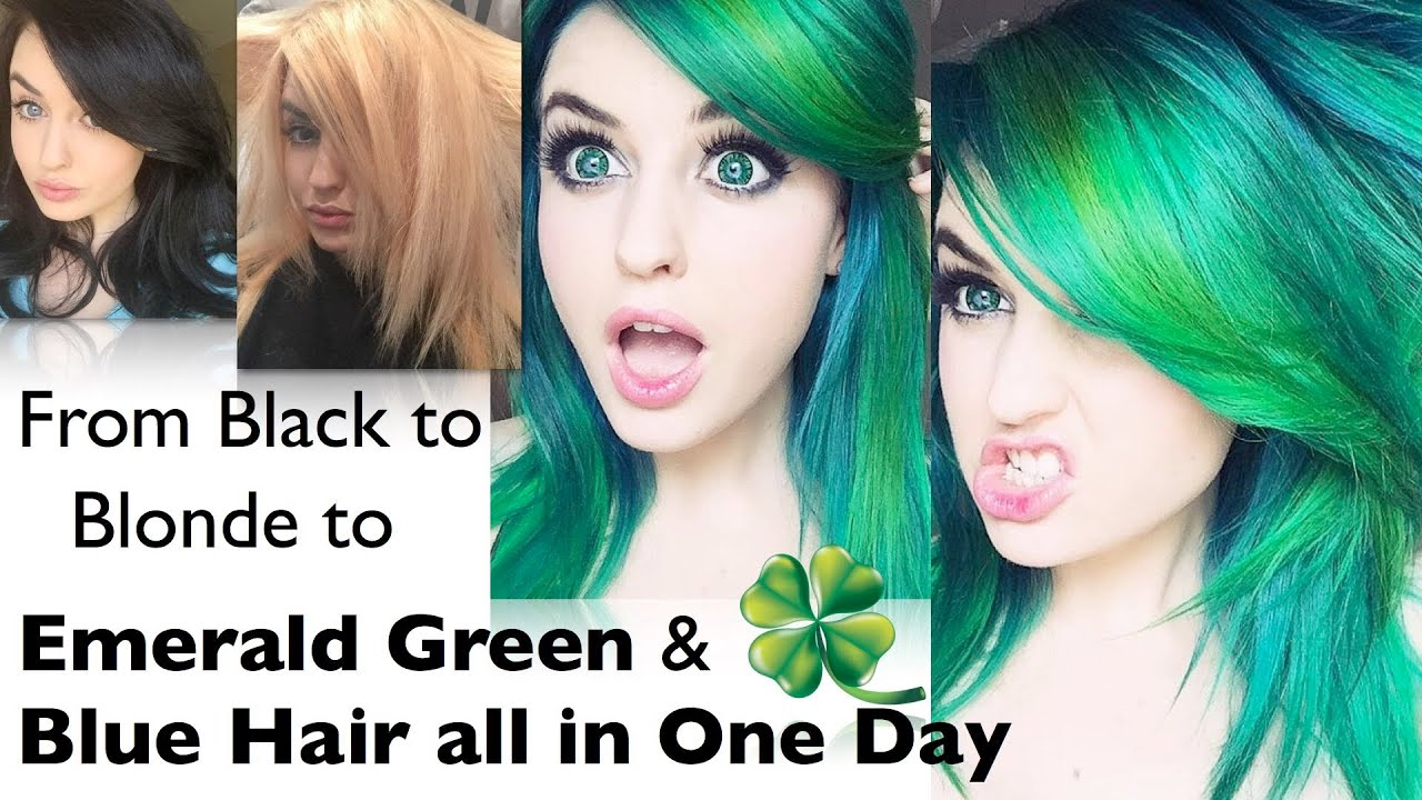 Black to blonde to green blue hair in one day youtube urmus Choice Image