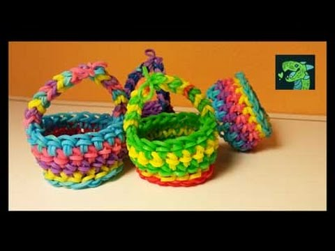 Picnic Basket / Easter Basket Rainbow Loom Hook only by Cheryl Mayberry AKA Willowcreat