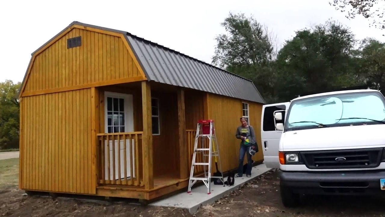 Living off grid in a tiny shed first look youtube for Building a barn to live in