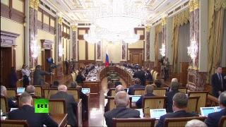 Дмитрий Медведев на заседании правительства