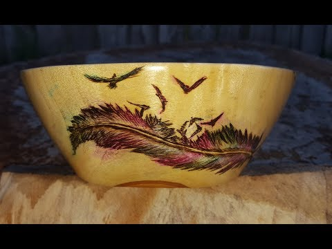 Pyrography feather and wood dye for water color look