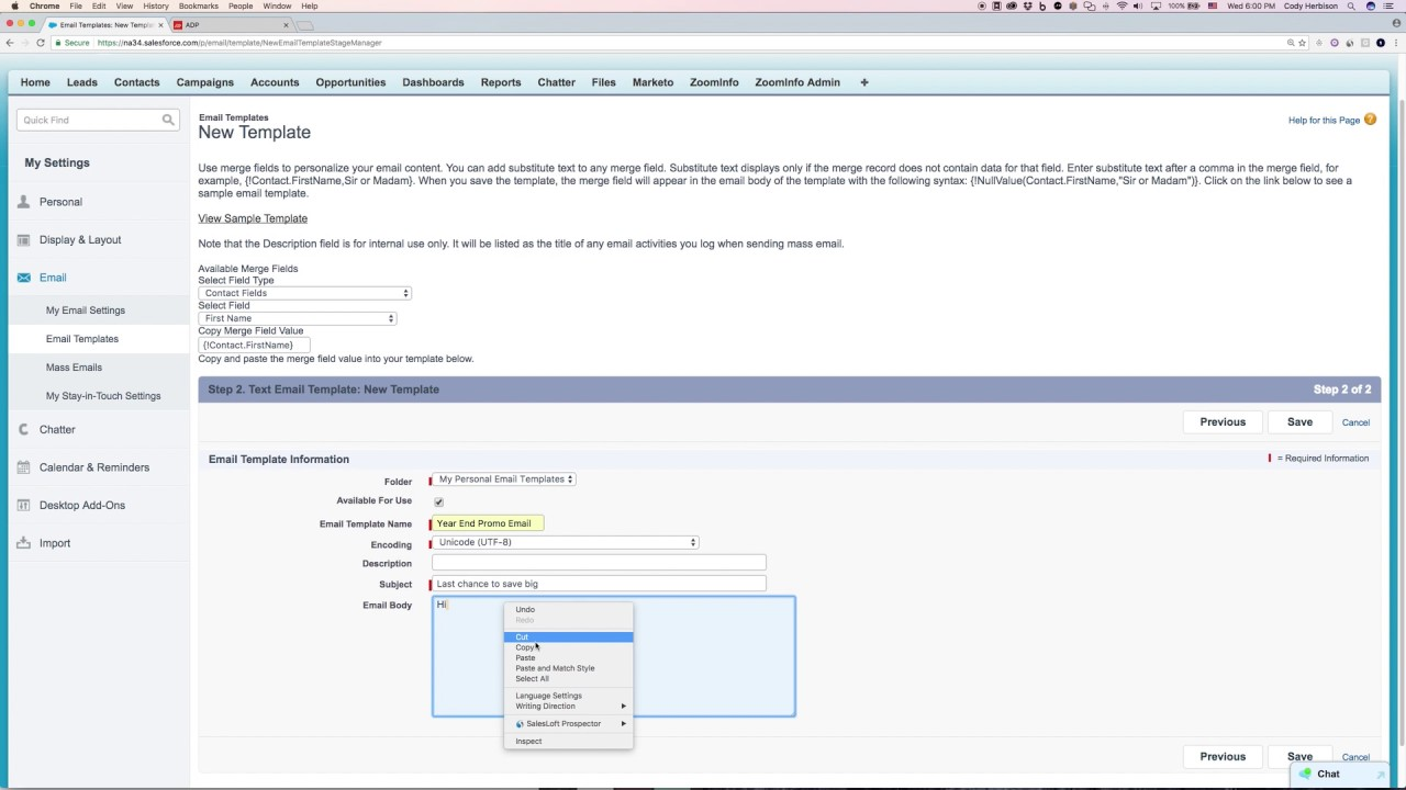 Creating Email Templates In Salesforce Youtube