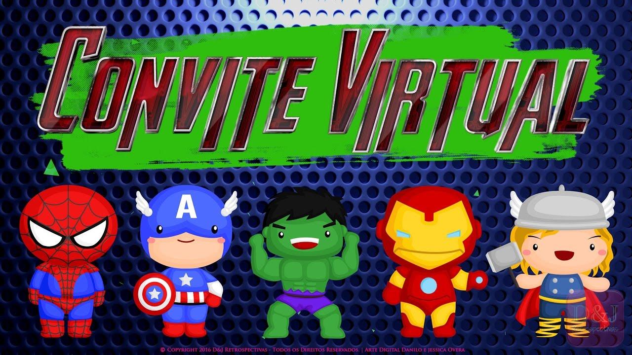 Convite Virtual Vingadores Cute Youtube