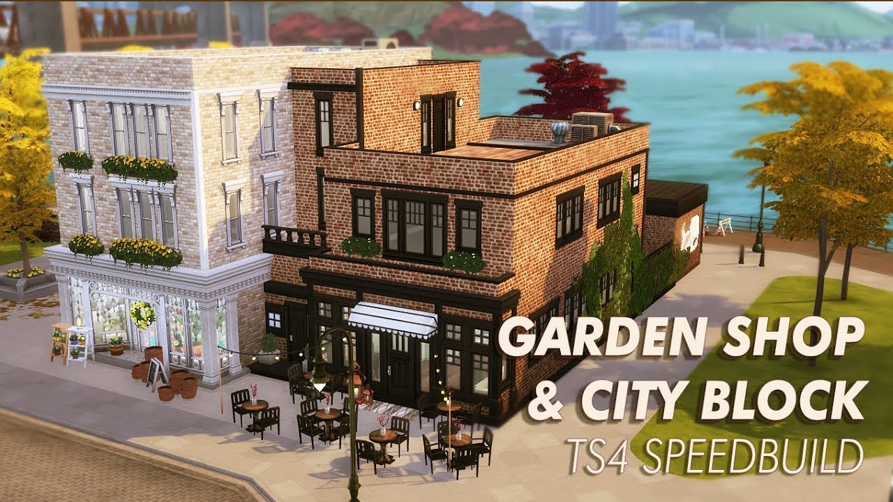 TS4 Speed Build 🌿 Garden Shop & City Block 🌿 CC Free - YouTube