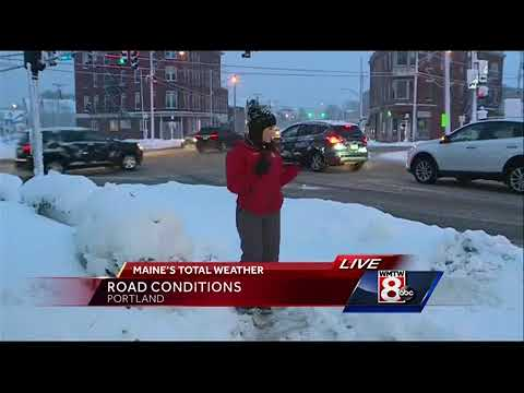 Storm makes for slick travel across Maine