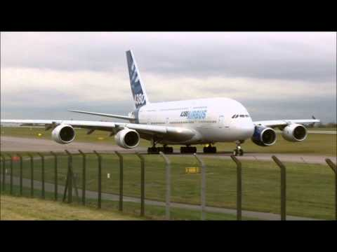 Airbus A380 Landing Backtrack & Takeoff At East Midlands Airport | F-WWOW The Flying Testbed