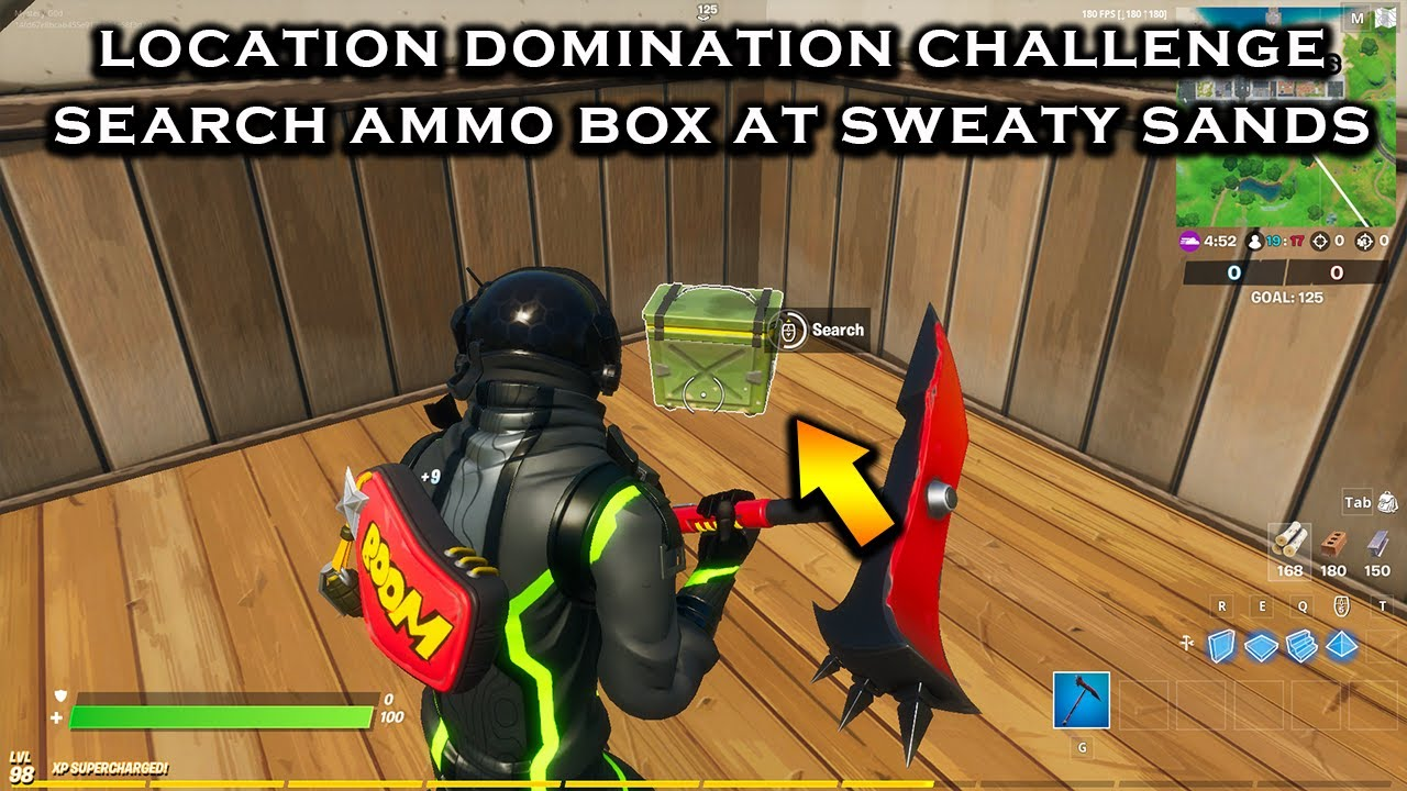 Fortnite *NEW* Search Ammo Boxes at Sweaty Sands - Location Domination