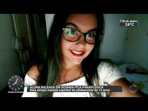 Aluna baleada em escola de Goiânia está paraplégica | SBT Brasil (25/10/17)