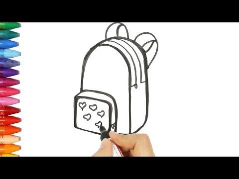 Как рисовать рюкзак - Рюкзак раскраска - Как покрасить рюкзак - Как рисовать и цвет