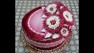 Торт Иней с хризантемами