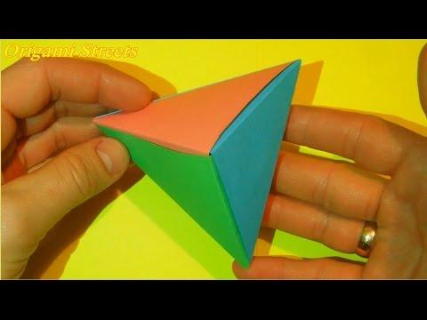 Как сделать 3D треугольник из бумаги. Оригами объёмный треугольник