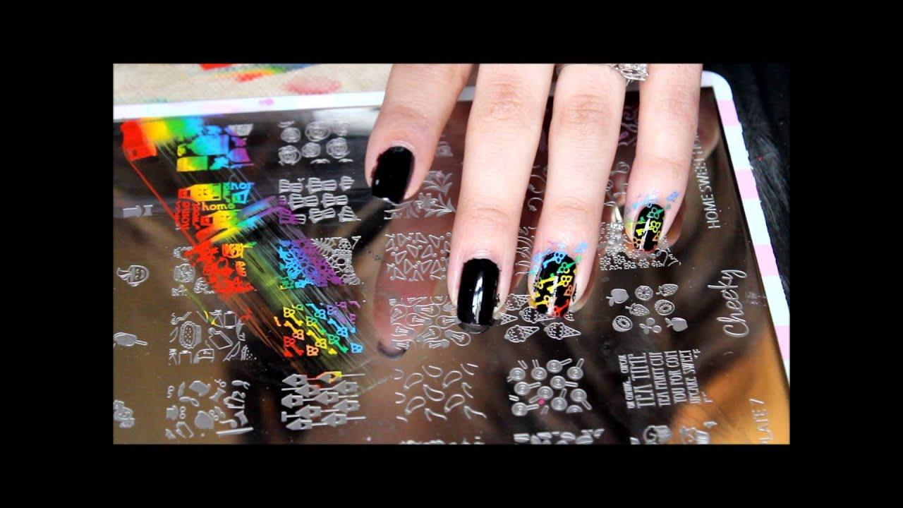 nail stamping: rainbow keys w/mundo de unas stamping polish - YouTube